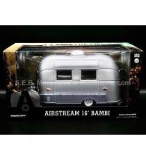CARAVANE BAMBI AIRSTREAM 16' SPORT ARGENT + ATTACHE REMORQUE POUR VOITURE 1/24 GREENLIGHT SOUS BLISTER