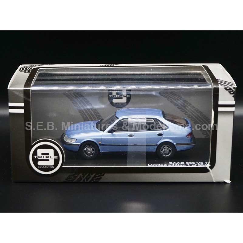 SAAB 900 V6 DE 1994 BLEU SILVER EDITION LIMITÉE 1/504 1:43 TRIPLE 9 COLLECTION SOUS BLISTER