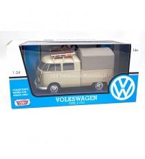 VW VOLKSWAGEN COMBI T1 TYPE II PICK-UP MARRON 1:24 MOTORMAX dans sa boîte