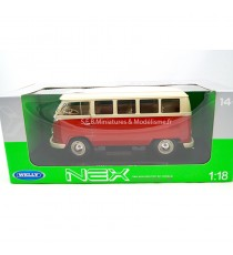 VW VOLKSWAGEN T1 BUS 1963 ROUGE/CRÈME 1:18 WELLY