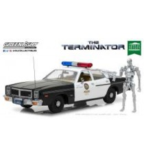 "DODGE MONACO METROPOLITAN POLICE + FIGURINE T800 DU FILM"" THE TERMINATOR"" DE 1977 1:18 GREENLIGHT"