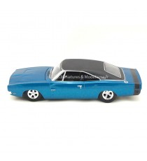 DODGE CHARGER 500 CUSTOM 1969 BLEU TOIT NOIR 1:24 AUTO WORLD