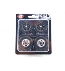 SET DE 4 ROUES DRAGSTER WHEEL & TIRE SET - 1:18 ACME