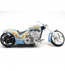 IRON CHOPPERS CUSTOM V-TWIN BLEU FLAMMING OCRE 1/18 MOTORMAX